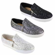 WOMENS LADIES GLITTER SHIMMER SPARKLE ZIP CASUAL FLAT TRAINERS PUMPS SHOES SIZE