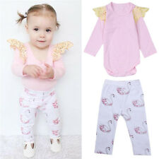 Pink Baby Clothes Fly Sleeves Trousers Swan Printing Lovely Girls Two-piece Suit