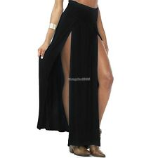Women Fashion Sexy Elastic High Waist Side Split Irregular Solid Long Skirt ED