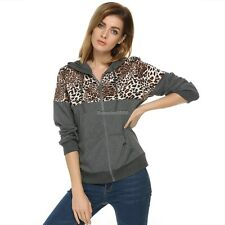 Stylish Women Leopard Stitching Sweater shirt Hooded Long Sleeve Pullover ED
