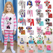 Boys Girls 2Pcs T-shirt Tops+Pants Outfit Kids Clothes Casual Loungewear Pajamas