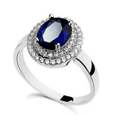 White Gold Filled Oval Blue Sapphire Crystal Engagement Ring R77