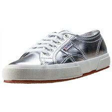 Superga 2750 Metallic Womens Trainers Silver New Shoes