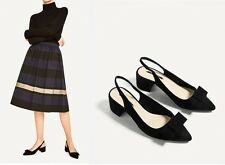 Woman Zara HIGH HEEL BACKLESS SHOES Black suede polyester bow Slingbacks lady