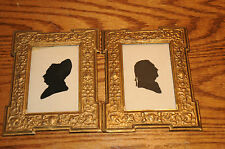 2 Vintage Silhouettes  black & White Metal Frame one Signed Miss Molly O'Conner.