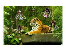 Custom Made T Shirt Beautiful Tiger Fantasy Scene Fairies Nature Animal
