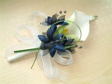 Wedding Flowers - Calla Lily & Blue Flowers Buttonhole, Ladies Corsage, Groom