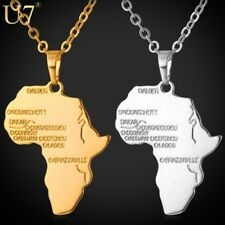 Hiphop Africa Pendant Gold Plated Trendy Women African Map Pendant Necklace Men