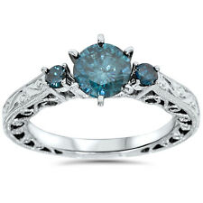 1 1/10ct Treated Blue Diamond Vintage Hand Engraved Engagement Ring 14K Gold