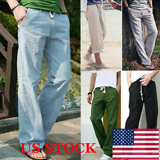 US Mens Soft Breathable Linen Long Loose Solid Color Casual Cool Pants Trousers