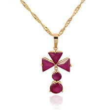 Gold Plated Multicolor CZ Triangle Flower Pendant March Chain Fashion Necklace