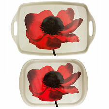 Red Poppy Floral Melamine Serving Tray – For Drinks Tea Snack or Sandwich