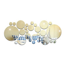 New Wall Stickers 3D Removable Circles Mirror Face Decal Home Bedroom Decor 28PC