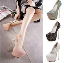 Women Platform Wedding Party Pumps High Heels Stiletto Glitter Grace Shoes YJQ