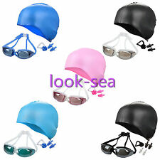 New Protective Adults Swim Set Mirrored Goggles Caps Nose Clip Ear Gear Plugs