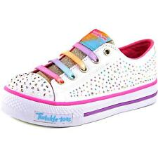 Twinkle Toes By Skechers Twirly Toes Youth Round Toe Canvas White Sneakers NWOB