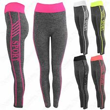 NEW LADIES GREY SPORT THICK SPORT LEGGINGS WOMENS SEAMLESS YOGA GYM WORKOUT PANT