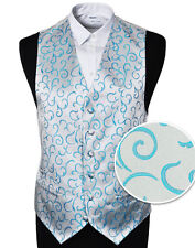 """Men's Aqua Scroll Wedding Party Waistcoat - Size 34"""" - 60"""" With or Without Tie"""