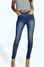 Boohoo Womens Anee High Waisted Split Knee Skinny Jeans