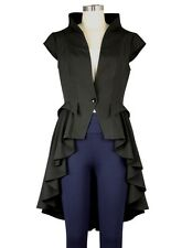 Black Gothic Steampunk Tail Vamp Long Victorian Waterfall Waistcoat Top Jacket