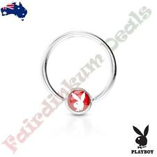 Surgical Steel Authentic Playboy Captive Hoop Ring with Red Playboy Bunny Logo