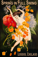 LONDON ENGLAND SPRING FULL SWING GIRL DANCE FLOWERS TRAVEL VINTAGE POSTER REPRO