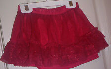 GIRLS~UNBRANDED~RED 2-RUFFLE SPARKLE ELASTIC WAIST TUTU SKIRT/RED UNDERSKIRT:18M