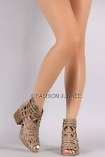 TAUPE CAGED STRAPPY OPEN TOE Booties Shoes Stacked Heels Ankle Peep BOHO 5-10