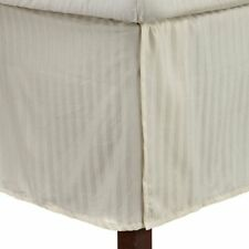 1 Qty Bed Skirt/Valance 1000 TC Egyptian Cotton 35 Drop ~AU Ivory Stripe