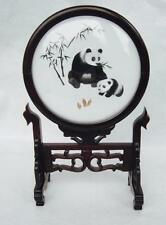 Chinese Panda Hand Embroidered Silk in Frame Double Sided Glass w/Stand Bamboo