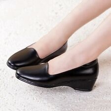 New Nurse Work Shoes Simple Wedge Heel Boat Shoes Working Loafers Black / White