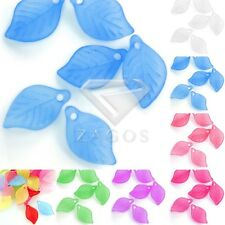 69pcs Acrylic Leaf Beads Jelly-like DIY Craft Jewelry Making 18x11x3mm 7 Colors