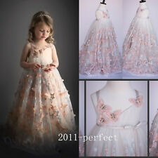 2017 New Butterfly Flower Girl Dress Communion Party Prom Pageant Wedding Events