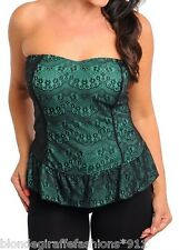 Aqua/Black Lace Overlay Strapless Smocked Back Bustier Plus Tube Top