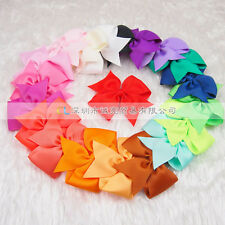Wholesale Baby Girl Grosgrain Ribbon solid Hair bows with clip lot Children lot