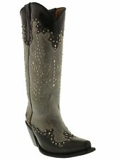 Womens Black Gray Tall Studded Leather Western Cowboy Rodeo Boots