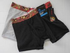 Ed Hardy Men's Open Mouth Tiger 2 Pack Boxer Brief Black/Light Grey - New