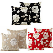 Chenille Rose Cushions Luxury Floral Woven Scatter Small & Large Cushion Covers