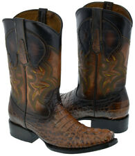 Mens Cognac Brown Square Toe Crocodile Alligator Print Western Cowboy Boots