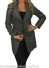 Gray Button Front Single Breasted Trench Jacket/Peacoat/Coat S M L XL