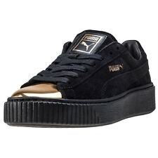 Puma Suede Platform Gold Womens Trainers Black Gold New Shoes