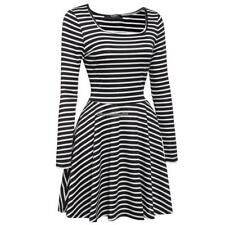 Women's Square Neck Long Sleeve Striped Fit and Flare Pleated Swing Dress C1MY
