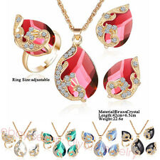 Peacock Style Brass Plated Gold crystal Bride Jewelry Necklace Earring Ring P5B