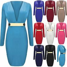 LADIES METAL BUCKLE BELT DRESS V NECK WOMENS BODYCON RUCHED SHIFT PARTY DRESSES