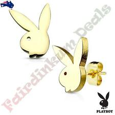 Pair Of Gold Ion Plated Playboy Bunny 316L Surgical Steel Stud Earrings