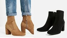 Woman ZARA ELASTIC HIGH HEEL ANKLE BOOTS suede polyester shell lady shoes zip up