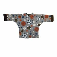 Baby Boy Gray Sport Ball Long Sleeve Shirt - 4 Preemie and Newborn Infant Sizes!