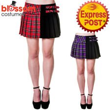 RKN64 Banned Pleated Short Mini Skirt Checked Tartan Retro Rock Emo Punk Gothic