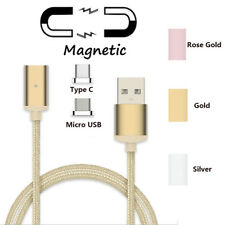 Nylon Braided Magnetic Adapter Charger Sync Cable 2-IN-1 For Micro USB + Type C