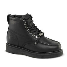 "New Mens Black 6"" Mocc Toe Leather Steel Toe Work Boots BAT-630 Size 6-12 (D, M)"